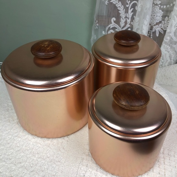 Vintage Copper Aluminum Kitchen Canister Set